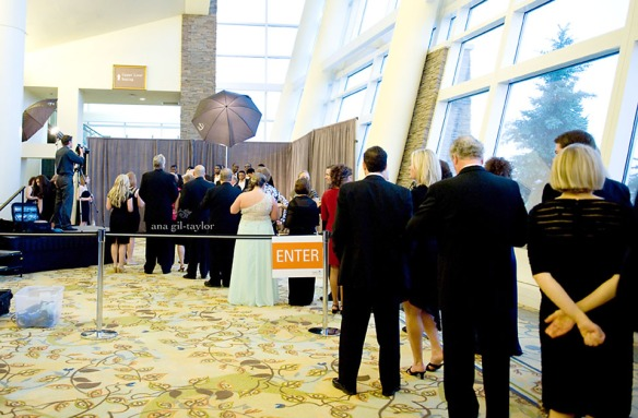 Guests waiting in line to have their picture taken with the entire SU basketball team. At The Jim and Juli Boeheim Foundation gala